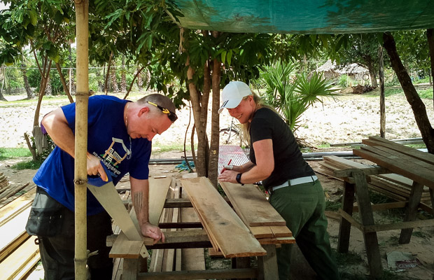 Irish volunteers Fergal and Orla building for VBC